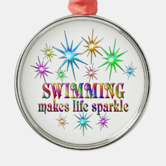 Swimming Sparkles Silver-Colored Round Decoration