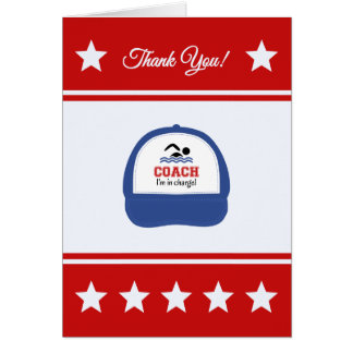 Swimming sport coach thank you card