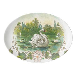 Swimming Swan Porcelain Serving Platter