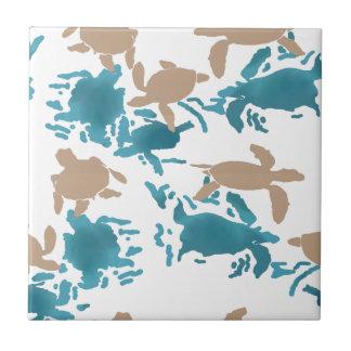 Swimming Turtle Pattern Ceramic Tile