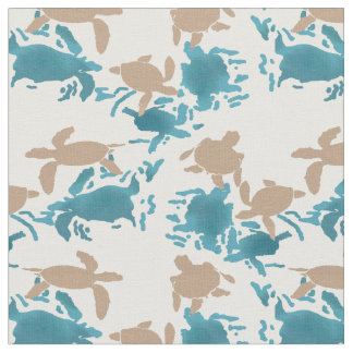 Swimming Turtle Pattern White Fabric