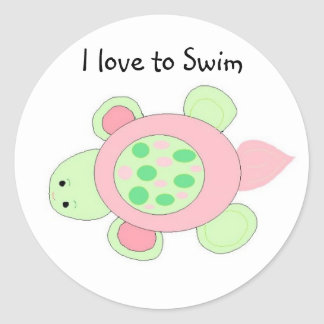 Swimming Turtle Round Sticker