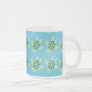 Swimming Turtles Frosted Glass Coffee Mug