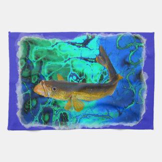 Swimming Walleye, Pickerel Fish Art Tea Towel