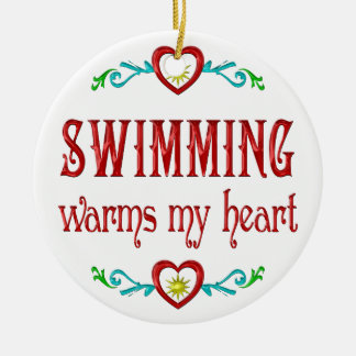 Swimming Warms My Heart Ceramic Ornament