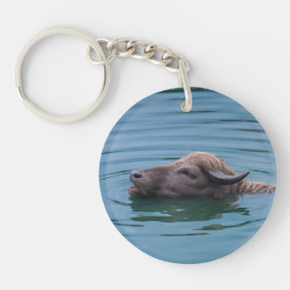 Swimming Water Buffalo Key Ring