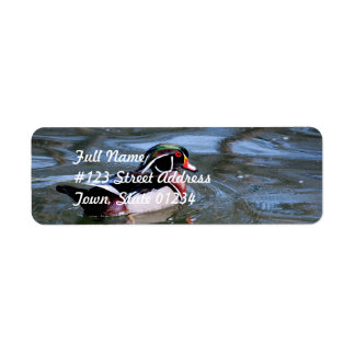 Swimming Wood Duck Return Address Label