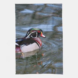 Swimming Wood Duck Tea Towel