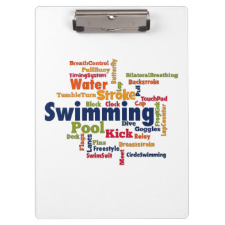 Swimming Word Cloud Clipboards