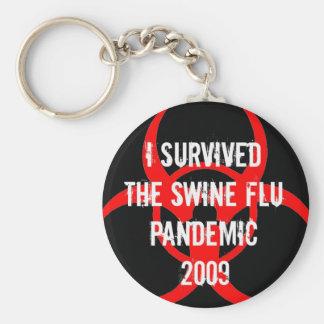 SWINE flu pandemic survivor - BLACK Basic Round Button Key Ring