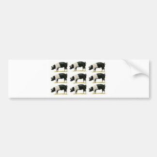 swine in a row bumper sticker