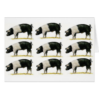 swine in a row card