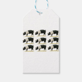 swine in a row gift tags
