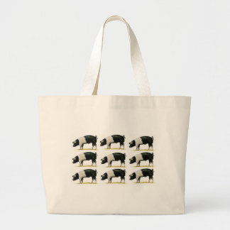 swine in a row large tote bag