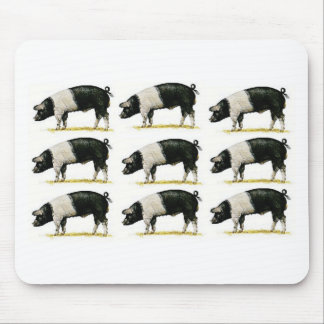 swine in a row mouse pad