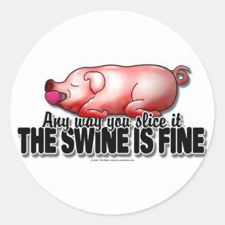 Swine Is Fine Classic Round Sticker