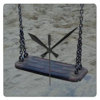 Swing at Playground, Summer Sand Beach Kids Play Clock