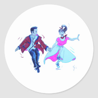 swing dancer pink poodle skirt saddle shoes classic round sticker
