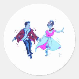 swing dancer pink poodle skirt saddle shoes round sticker