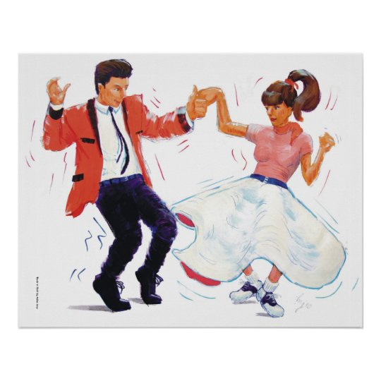 swing dancer with poodle skirt and saddle shoes poster