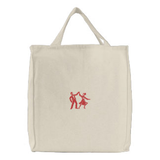 Swing Dancers Embroidered Tote Bag
