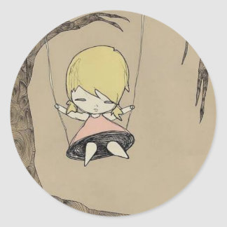 Swingin' on a tree swing round sticker