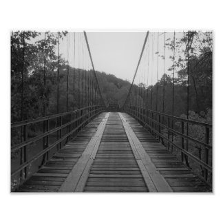 Swinging Bridge B and W Photo Print