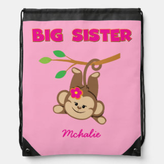 Swinging Monkey Big Sister Drawstring Bag