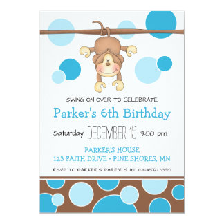 Swinging Monkey Blue Birthday Invitations