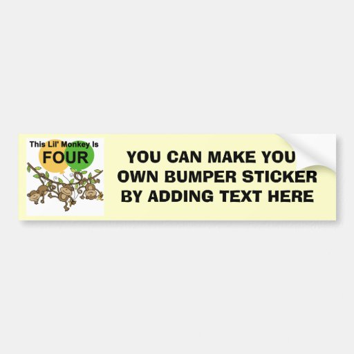 Swinging Monkeys 4th Birthday Tshirts and Gifts Bumper Stickers