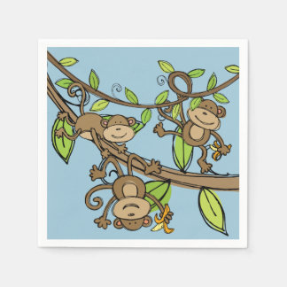 Swinging Monkeys Birthday Paper Napkins Disposable Napkin