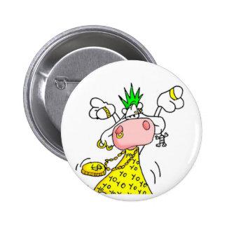 swipe in punk cow 6 cm round badge