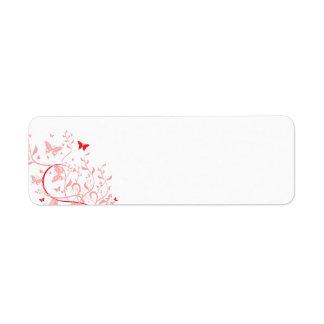 swirl10 BUTTERFLY FLORAL SWIRL RED PINKS ROSES GRA Return Address Label