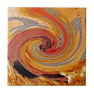 Swirl 02-Colors of Rust/Rust-Art Ceramic Tile