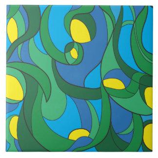 Swirl Blue Tones Large Square Tile