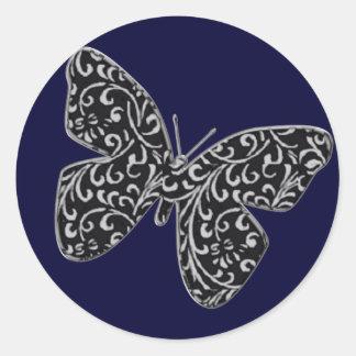 Swirl & Butterfly Sticker Navy Blue Deep Blue