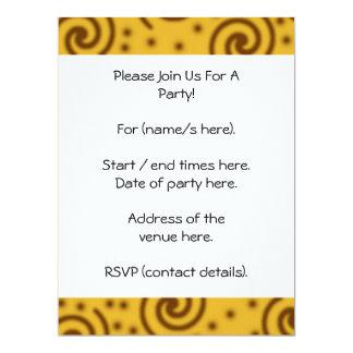 Swirl Design in mustard yellow and brown. 17 Cm X 22 Cm Invitation Card