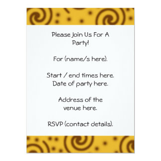 Swirl Design in mustard yellow and brown. 17 Cm X 22 Cm Invitation Card