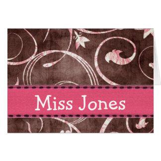 Swirl Design Note Card Template