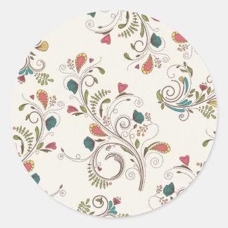 swirl flower vines butterfly heart background round stickers