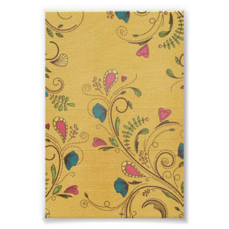 Swirl Flower Vines on Yellow Background Posters