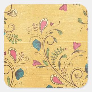 Swirl Flower Vines on Yellow Background Square Sticker