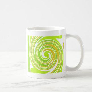 swirl - green yellow mugs