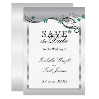 Swirl Jade Floral Design -  Save The Date Card