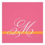 Swirl Monogram Wedding Invitations Pink