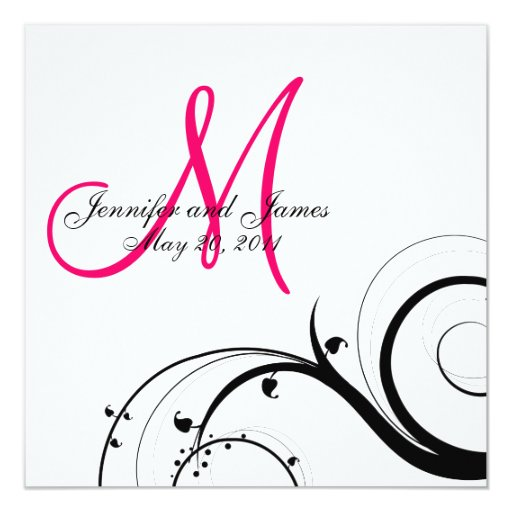 Swirl Monogram Wedding Save the Date Back View 13 Cm X 13 Cm Square Invitation Card