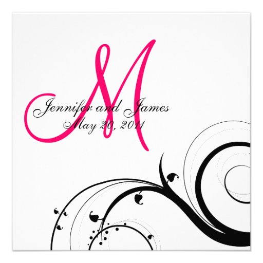 Swirl Monogram Wedding Save the Date Back View Personalized Invitation