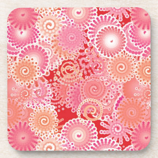 Swirl pattern, pink, coral, peach and cream drink coaster