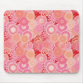 Swirl pattern, pink, coral, peach and cream mousepad