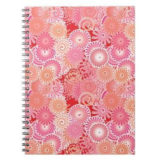 Swirl pattern, pink, coral, peach and cream spiral notebooks